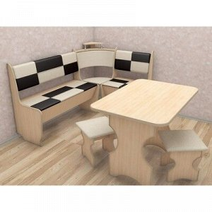 Кухонный уголок Домино стандарт 1500х1000х880 Дуб млечный/кож.зам