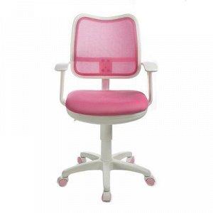 Кресло Бюрократ, с подлокотникам, розовый, спинка сетка, белый пластик, CH-W797/PK/TW-13A
