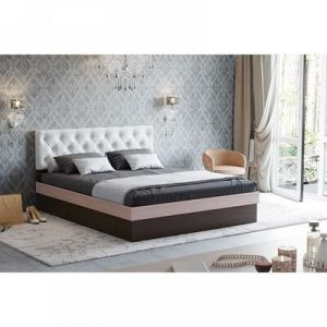 Кровать Луара-3 1600 ортопед.ламели, 1650х2050х990, Венге/Дуб молоч/Белый, карет стяжка
