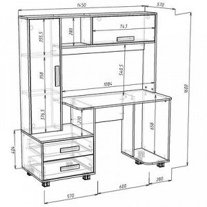 Стол компьютерный Альянс 8, 1450х570х1600, Дуб молочный/Венге