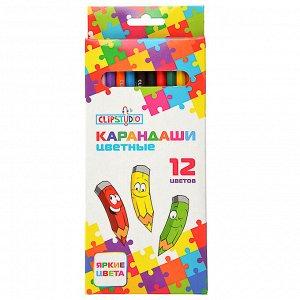 ClipStudio Карандаши 12 цветов шестигранные заточ., пластик, в карт.кор. с подвесом