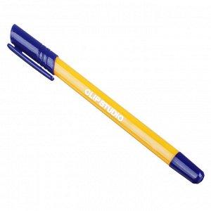 ClipStudio Ручка шариковая синяя, с желтым трехгранным корпусом, линия 0,7 мм, с инд. маркировкой