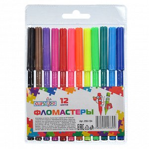 ClipStudio Фломастеры 12 цветов, с цветным вент.колпачком, пластик, в ПВХ пенале