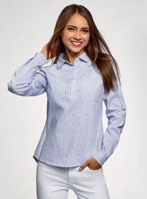 Рубашка принтованная с карманами Oodji