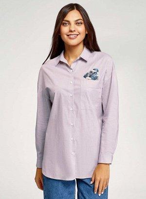 Рубашка oversize с вышивкой Oodji