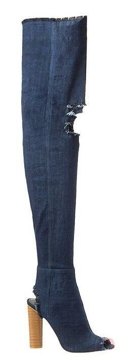 Крутые джинсовые сапоги-ботфорты Betsy, цвет тёмно-синий.