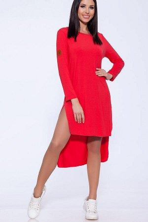 Платье Модное теплое платье с разрезами короткое спереди и длинное сзади  Длина изделия по спинке для 50 размера 115 см, длина полочки 92 см длина рукава 57 см  Ткань: Зимняя вискоза Состав:80% Полиэ