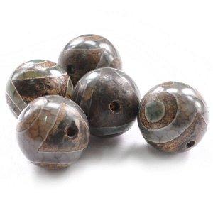 BDZA-003-20 Тибетская бусина Дзи, натуральный агат,1 шт, диаметр ~20мм