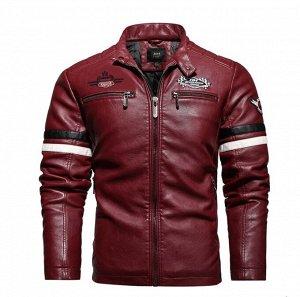 Мужская демисезонная куртка из кожи pu, цвет бургундия