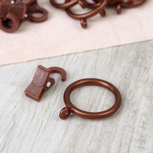 Набор для штор. кольца и крючки. 10 шт. цвет коричневый