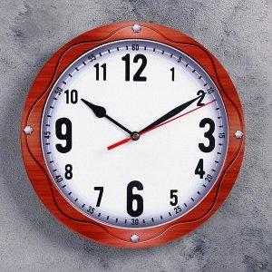 Часы настенные классика, круглые 24 см, стрелки микс
