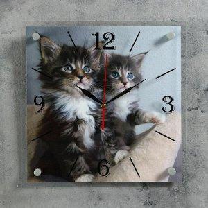"""Часы настенные. серия: Животный мир. """"Котята"""". 35х35  см. микс"""