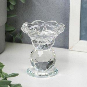 """Подсвечник стекло на 1 свечу """"Цветочек с хрустальным шаром"""" 7.5х6.8х6.8 см"""