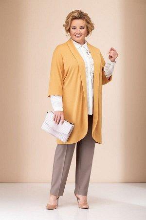 Женский комплект кардиган, блузка и брюки