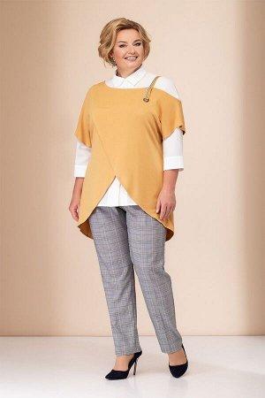 Женский комплект жилет, блузка и брюки