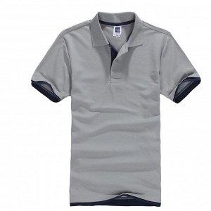 Футболка Polo мужская, серый/темно-синий