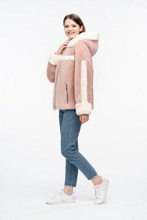 """Куртка из меха керли цвет """"розовый"""""""