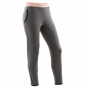 Спортивные брюки утепленные для девочек серые с принтом DOMYOS