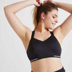 Топ для фитнеса и кардиотренировок женский черный 500 DOMYOS