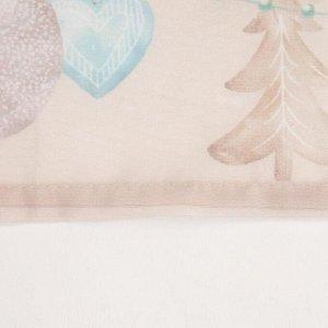 """Тюль с подхватом и ламбрекеном """"Beautiful Сhristmas"""" 250х200см. 100% п/э. вуаль"""