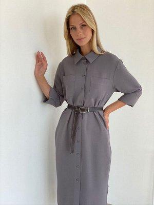 S2142 Платье-рубашка из крепа в дымчатом цвете