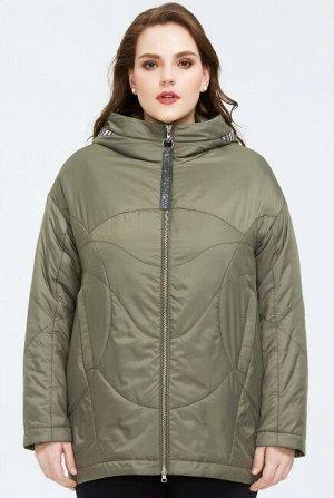 Женская демисезонная куртка с капюшоном, цвет зеленый горошек