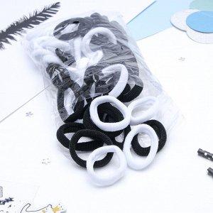 """Резинка для волос """"Махрушка"""" 5,5 см (набор 48 шт) чёрный и белый"""
