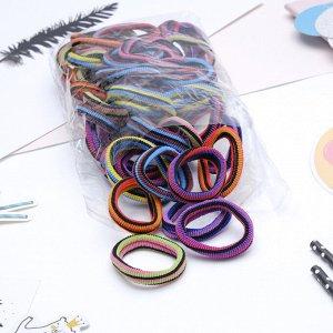 """Резинка для волос """"Махрушка"""" 5,5 см в чёрную полоску (набор 48 шт) разноцветные"""