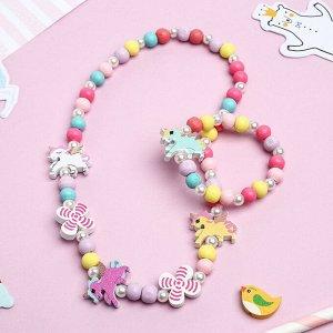 """Набор детский """"Выбражулька"""" 2 предмета: бусы, браслет, единорог, цвет бело-розовый"""