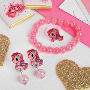 """Набор детский """"Выбражулька"""" 3 предмета: клипсы, браслет, кольцо, единороги, красный"""