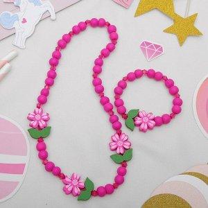 """Набор детский """"Выбражулька"""" 2 предмета: бусы, браслет, цветы крупные, цвет ярко-розовый"""