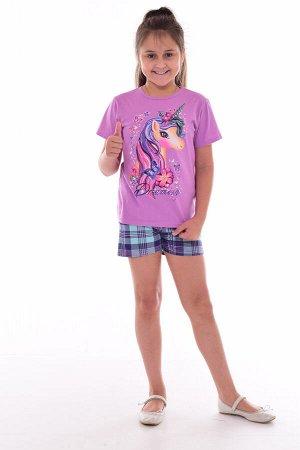 Пижама подростковая 12-082а (лиловый), Единорог