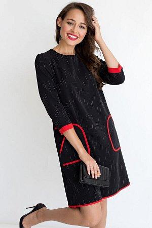 """Платье """"Девушка - мечта"""" (черное с красным) П1622-1"""