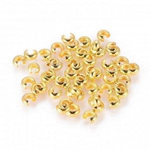 Кримпы, 4*3мм, покрывные, золотистого цвета. Цена за 10 шт.
