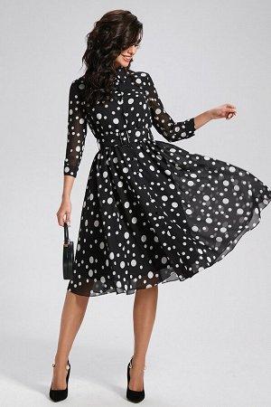 Платье Состав 100% ПЭ Платье (длина по спинке 110 см, цвет: черно-белый) - полуприлегающего силуэта, отрезное по линии талии, с центральной застежкой на планки, застегивающиеся на петли и пуговицы - л