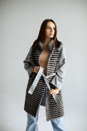 Пальто под пояс с отделкой из норки