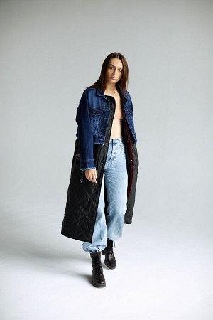 Пальто комбинированное джинс+стеганая ткань