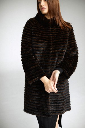 Пальто из норки на трикотаже