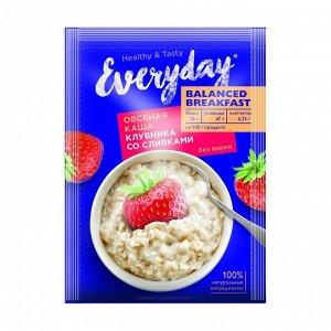Каша овсяная balanced breakfast клубника со сливками, everyday, 40г