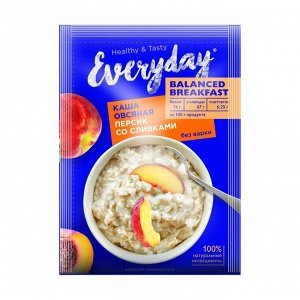 Каша овсяная balanced breakfast персик со сливками, everyday, 40г