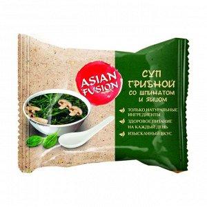 Суп грибной со шпинатом и яйцом, asian fusion, 12г