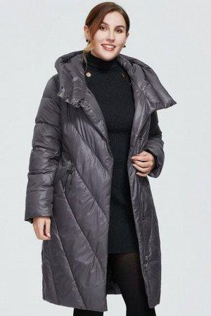 Женский зимний пуховик с капюшоном и ассиметричной застежкой ХИТ ПРОДАЖ, цвет серо-фиолетовый