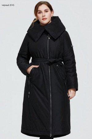Женское зимнее пальто с поясом и капюшоном ХИТ ПРОДАЖ, цвет черный