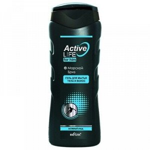Bielita Active Life Men Гель для мытья тела и волос Морской Бриз 250 мл