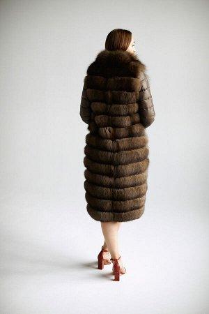 """Пальто-трансформер из меха песца цвет """"соболь"""""""