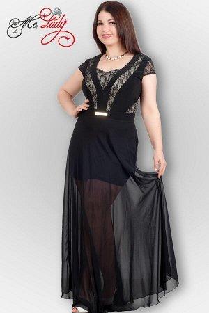 Платье Вечернее платье из комбинированных тканей (лайкра, кружево, шифон) с длинной шифоновой юбкой. Нижняя юбка из лайкры. Кружевные вставки продублированы и посажены на подклад. Платье из эластичной