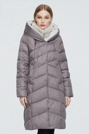 Женский зимний пуховик с капюшоном и меховым воротником-стойкой ХИТ ПРОДАЖ, цвет серый