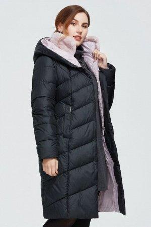 Женский зимний пуховик с капюшоном и меховым воротником-стойкой ХИТ ПРОДАЖ, цвет черный