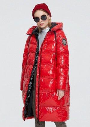 Женский зимний пуховик с капюшоном ХИТ ПРОДАЖ, цвет глянцевый красный