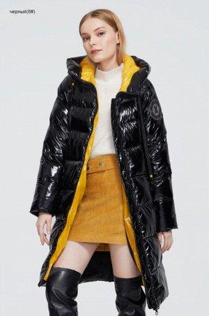 Женский зимний пуховик с капюшоном ХИТ ПРОДАЖ, цвет глянцевый черный